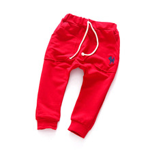 Fashion Boys Long Pants Kids Toddler Cotton Mid Elastic Harlan Trousers Solid(China (Mainland))