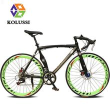 The New Listing KOLUSSI Road Bike For Men 14 Speed Bycicle Aluminum Muscle Frame Double Disc Brake Bisiklet 700C Velo De Route(China (Mainland))