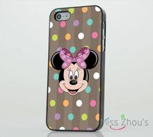 Minnie Mouse Colourful Spots back skins mobile cellphone cases for iphone 4/4s 5/5s 5c SE 6/6s plus ipod touch 4/5/6