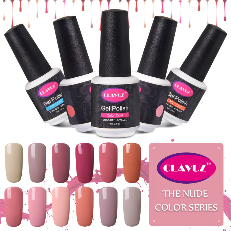 CLAVUZ 8ml Gel Polish Varnish UV LED Nude Color Gel Nail Polish Elite99 Set Soak Off Gel Permanent Nail Polish Cheap Manicure(China (Mainland))