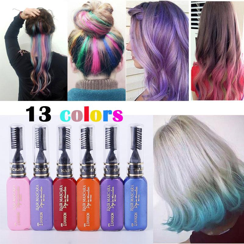 TEAYASON 13 Colors One-time Hair Color Hair Dye Temporary Non-toxic DIY Hair Color Mascara Dye Cream Blue Grey Purple(China (Mainland))