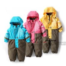 New 2014 autumn winter Rompers children clothing baby boy outdoor waterproof coat girls overall children windproof jumpsuit(China (Mainland))