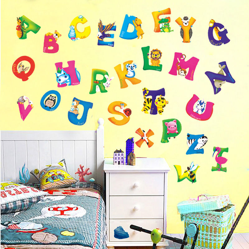 Alphabet Wall Decor Nursery : A z alphabet animal mural vinyl wall sticker decals kids