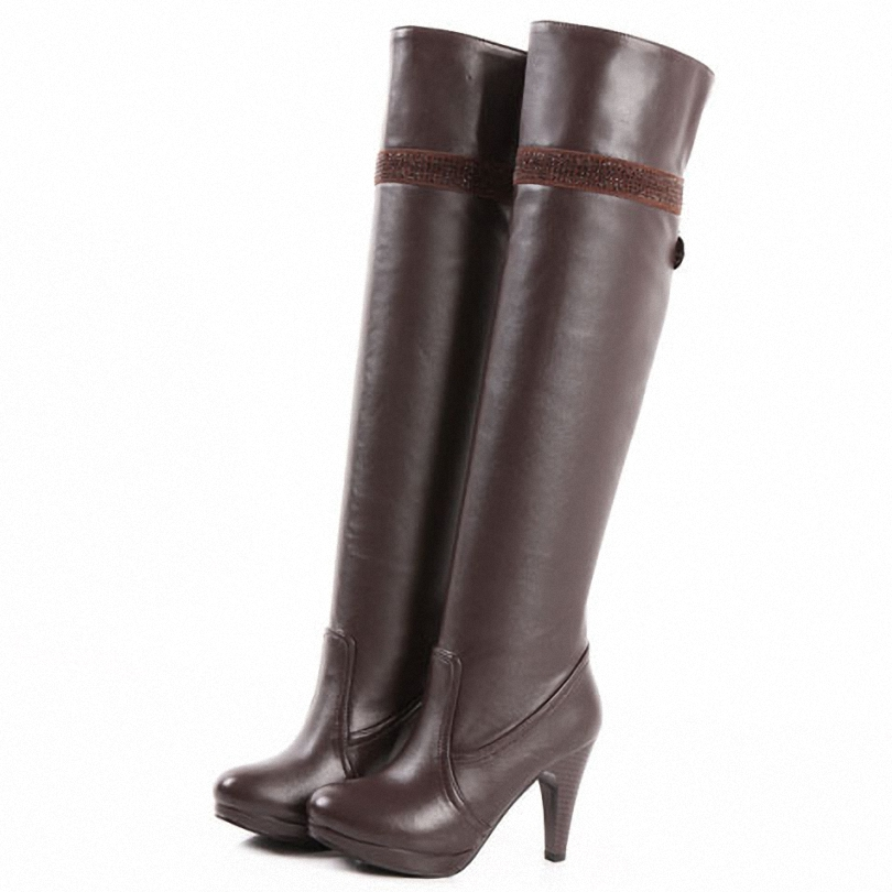 new boots fashion high heels knee boots women shoes pu