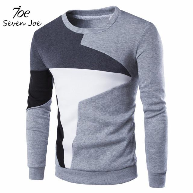 Семь джо. Новинка мужские hoodies100 % хлопок шерсть лоскутная причинно уникальный печать мужчины спортивной одежды
