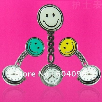 many colors Metal Nurse Medical Smile Face Watch Watches With Clip Doctor Table Pocket Watch hot  product cheap