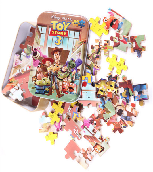 Baby Toys 60Pcs Cartoon Puzzle Iron Box Package Montessori Jigsaw Puzzle Wooden Toys Education Early Learning Child Gift(China (Mainland))