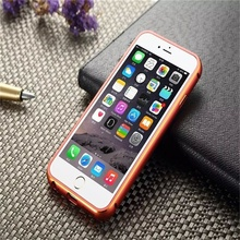 Hot !!! For iphone 6 Plus Case Metal Aluminum Frame+Luxury Litchi Leather Back Phone Cover For iphone6 Plus Case Bag Accessory