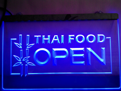 LK705- Thai Food OPEN Cafe Restaurant LED Neon Light Sign(China (Mainland))