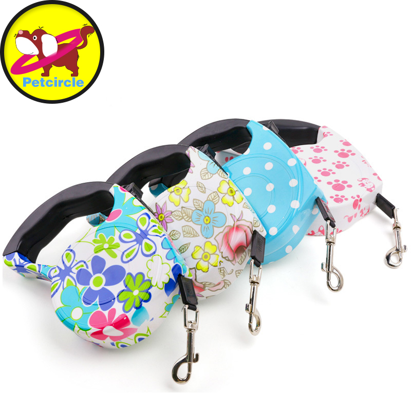 Free Shipping 5M Top Quality Dog lead Retractable Dog Leash Pet Traction Rope Chain Harness Dog collar Automatic Adjustable(China (Mainland))