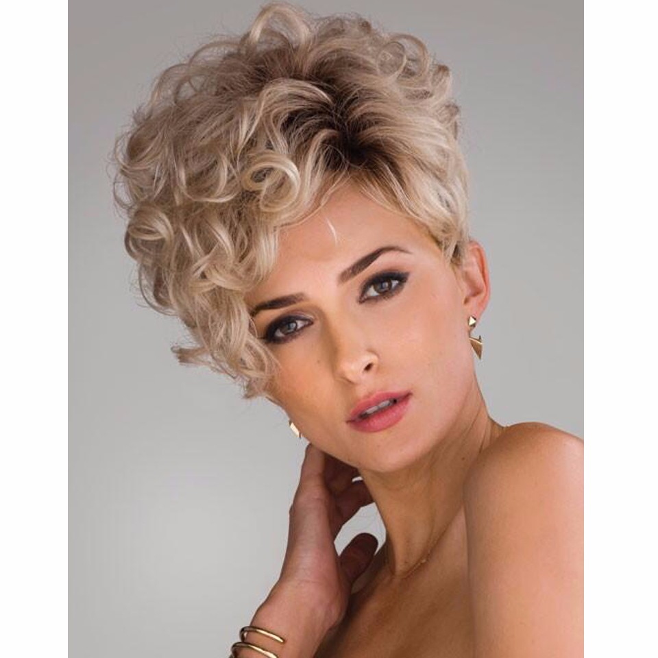 Short Kinky Curly Hair Wigs pixie styles Synthetic pastel wigs for women Short curly blonde wig Peruca loira