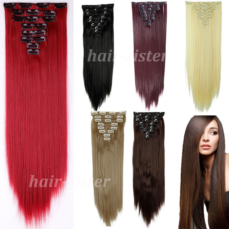 "cheapest real full head clip in on hair extensions Extention straight 26"" 66CM 8PCS/SET 100% Great Quality Hair Black Brown Red(China (Mainland))"