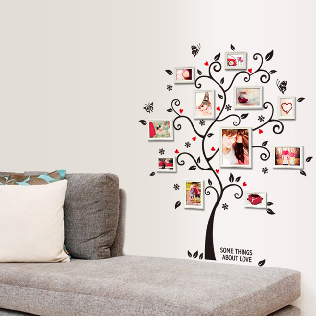 product Chic Black Family Photo Frame Tree Butterfly Flower Heart Mural Wall Sticker Home Decor Room Decals