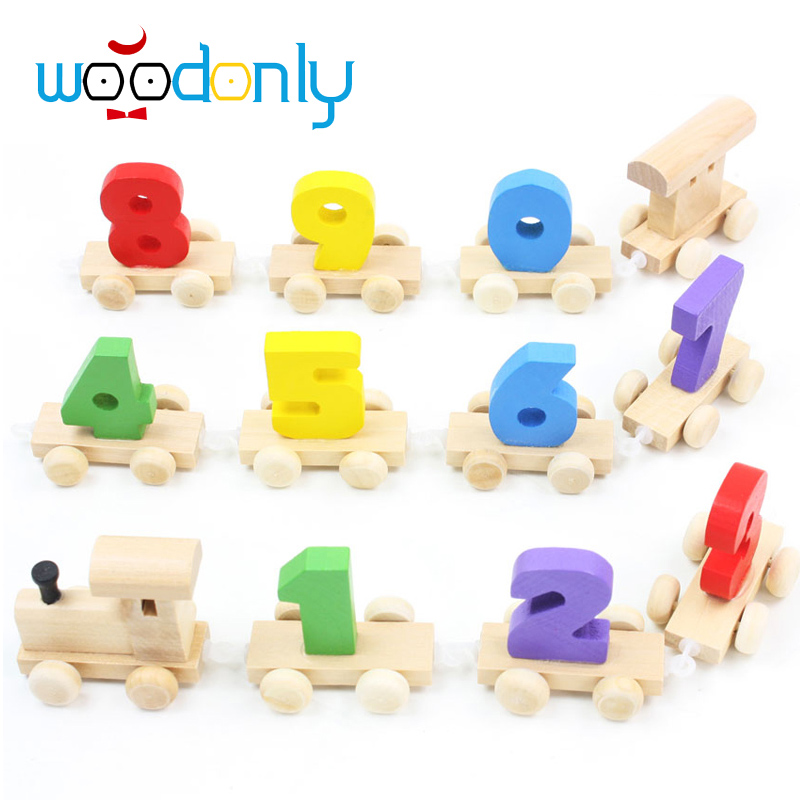Number Train Dragging Dismounting Car Game /Baby Children Educational Wooden Toy Doll Birthday Gift Childhood/Adulthood oyuncak(China (Mainland))