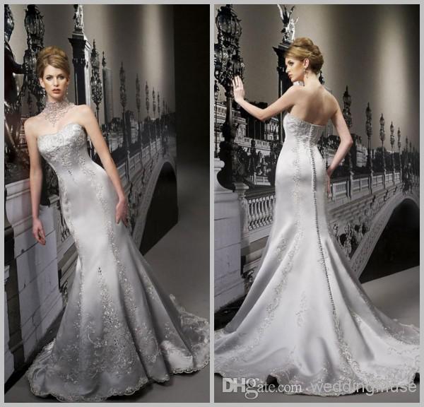 2015 custom silver grey mermaid wedding dressluxury for Silver satin wedding dress