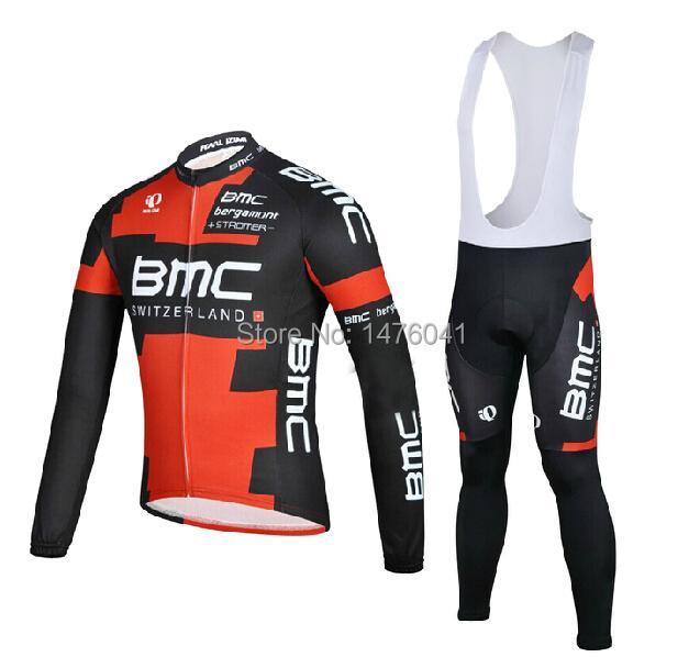 2014 New Autumn and Winter Long Sleeve BMC Team Cycling Jersey/Cycling Wear/Cycling Clothing+Short Bib Bike Suit(China (Mainland))