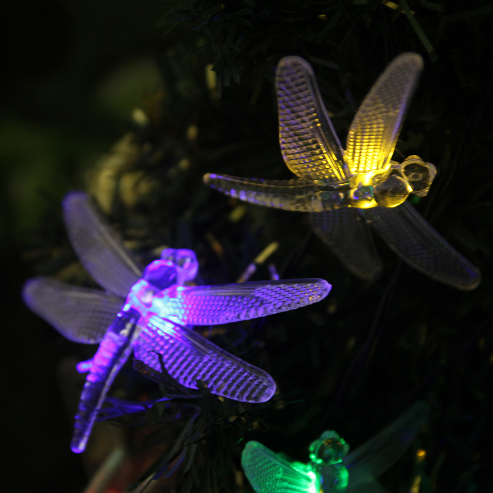 Solar Outdoor Christmas Light String 20 Led Dragonfly