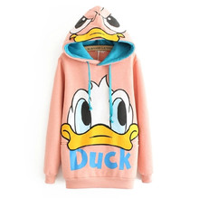 New Fashion Women Hoodie Tracksuit Jogging Sports Coat Hooded Pullover Cartoon Duck Long Sweatshirts Sudaderas Mujer Plus Size(China (Mainland))