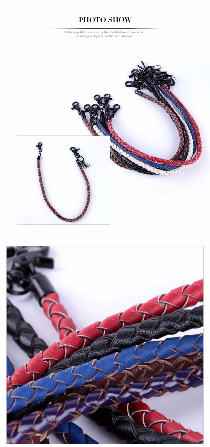 CHAOYE 2017 Solid Color Leather Jeans Chain Keychain Punk Rock Style Pants Chain Key Ring Vintage Women Bag Charm Gift for Men