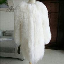 2018 Milan Luxus Design Wholeskin Lamm Pelz Mäntel frauen Aus Echtem Lamm Pelz jacke Winter Warm Schafe Pelz Lange Mäntel abrigos mujer(China)