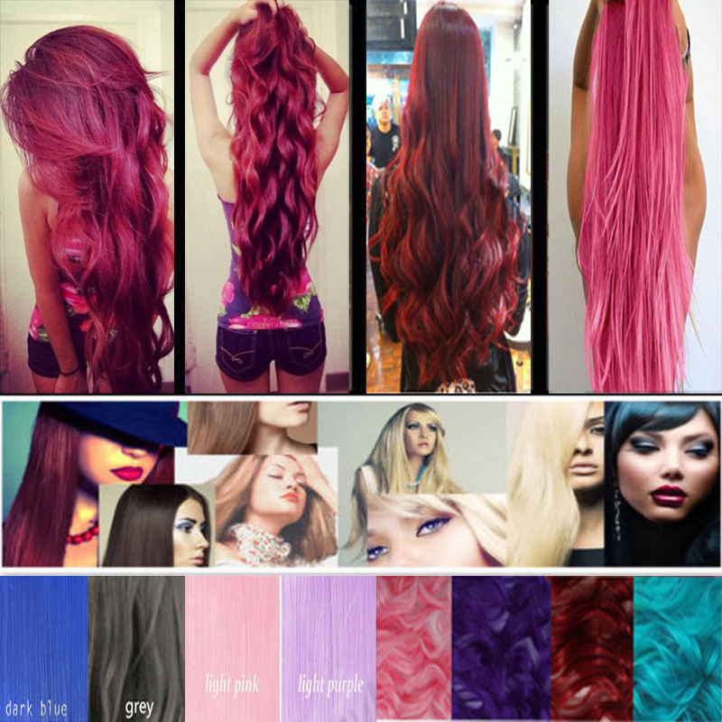 2015 New 24inch 60cm Long Straight 3/4 Full Head clip in on hair piece hair extension womens hair Colorful hair COSPLAY<br><br>Aliexpress