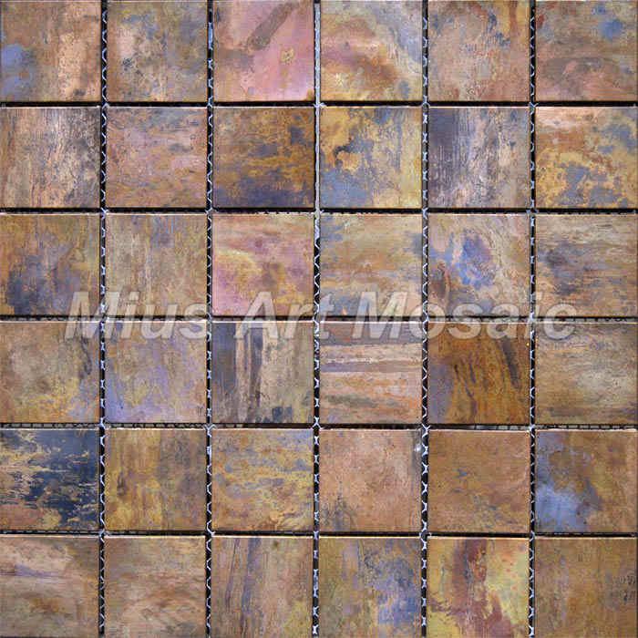 [Mius Art Mosaic] Big square Copper mosaic tile in bronze brushed for kitchen backsplash A6YB004<br><br>Aliexpress