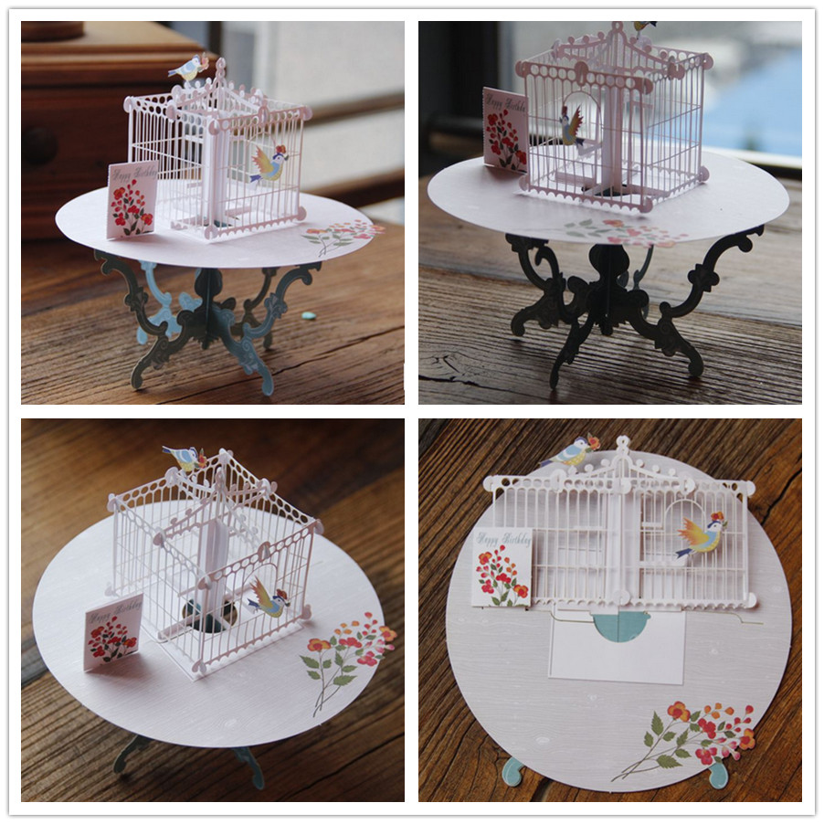 Birdcage Laser Cut 3D pop up paper laser cut crafts display custom Handmade Greeting Cards Happy Birthday Gifts 7006(China (Mainland))