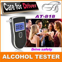 2015 NEW Hot selling Professional Police Digital Breath Alcohol Tester Breathalyzer AT818 Free shipping +10pcs mouthpieces(China (Mainland))