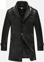 2016 Men Long New Leather Jacket Jaquetas Couro Men Leather Jacket Genuine Leather Jacket Men Male Winter Jacket Coat(China (Mainland))