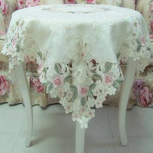 Elegant Shabby Vintage Floral Table Overlays For Weddings,Pink Rose Embroidered Tablecloth,Sweet Cherry Blossom Table Clothes(China (Mainland))