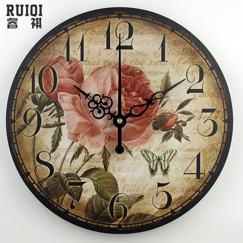 3d decorative wall clocks absolutely silent living room watch wall vintage round wall clock. Black Bedroom Furniture Sets. Home Design Ideas