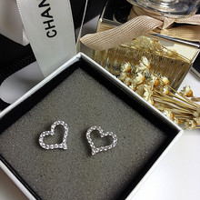 Free Shipping New Arrival Micro Inlay Zircon,White Gold Plated Shining Love Heart Stud Earrings For Women Fashion Jewelry(China (Mainland))