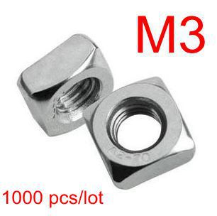 Free Shipping 1000 pcs/lot Stainless Steel A2 Square Nut M3 DIN557 Rohs Standard Metric for Aluminum Profile Hardware Nuts