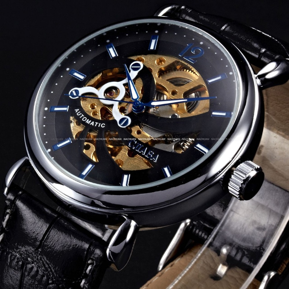 Luxury Galaxy Series Silver Case Classical Skeleton Dial Black Leather Band Casual Dress Automatic Mechanical Watch Men / PMW191(China (Mainland))