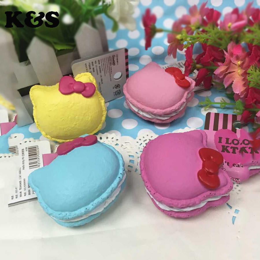 original package rare hello kitty Macaron Squishy cell phone Strap Charm 12pcs/lot 3 colors Wholesales Squishies toys(China (Mainland))