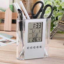 Free shipping NEW Digital Desk Pen/Pencil Holder LCD Alarm Clock Thermometer&Calendar Display hot selling(China (Mainland))