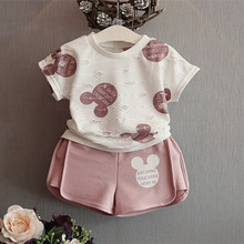 2016 new brand girls mickey sport suit cartoon clothing set ripped white shirt with shorts for kids and chidlren clothing (China (Mainland))