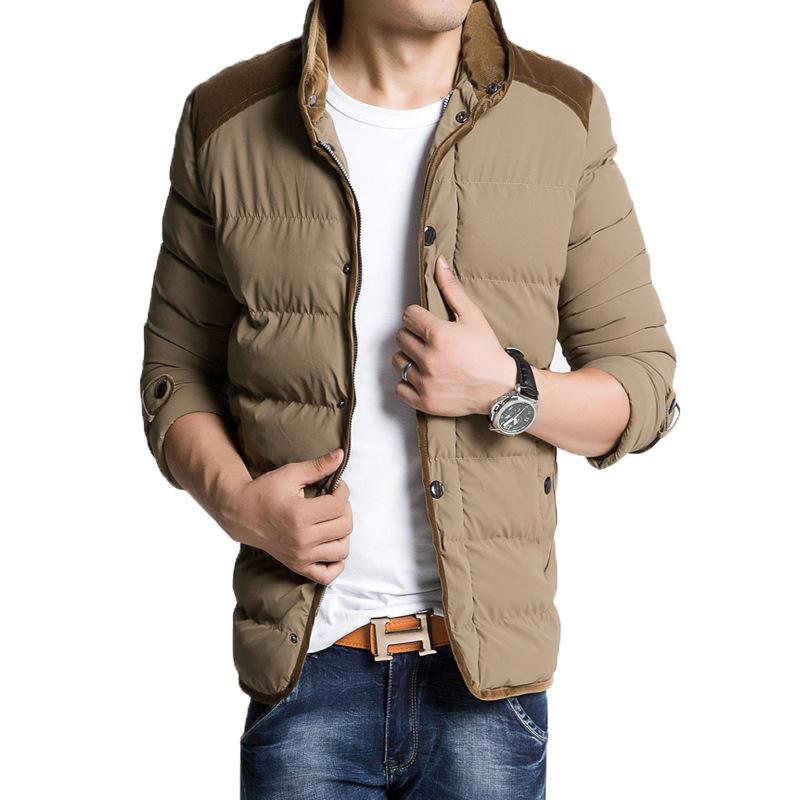 Korean Version Fashion Warm Winter Jacket Cotton Long Casual Men Winter Jacket Solid Good Quality Winter