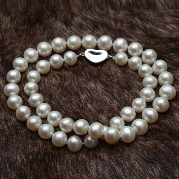 Off-Round 9-10mm AAA White Pearls Necklace 925 Sterling Silver Clasp 20 Inch N15240 Free Shipping DHL EMS<br><br>Aliexpress