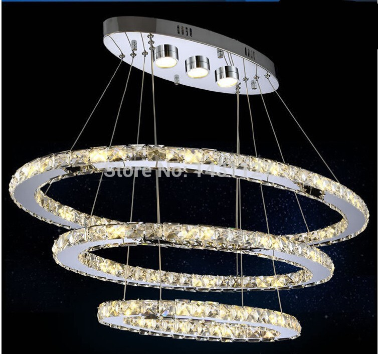 Modern three Rings LED Crystal Chandelier Oval Design