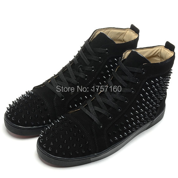 2015 bottom shoes with spikes mens flat high top