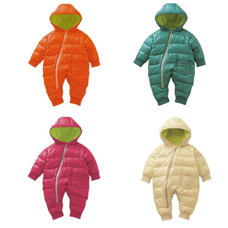 Baby Rompers Winter Thick Cotton Boys Costume Girls Warm Clothes Kid Jumpsuit Children Outerwear Wear 4 Colors - Angel's chest store