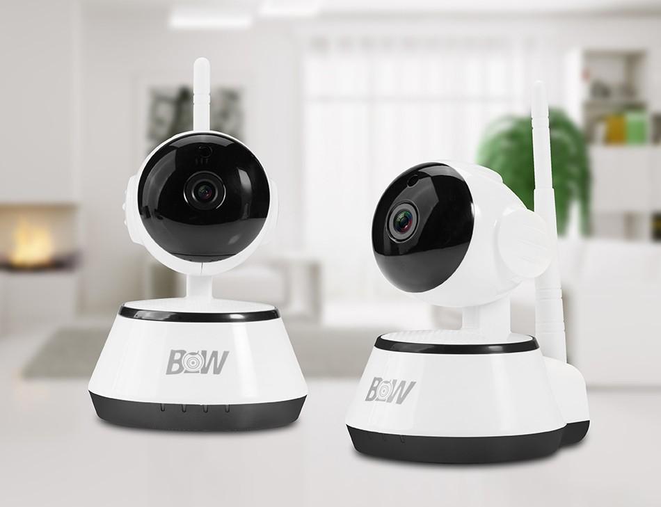 BW Wifi Wireless HD 720P Smart P2P IP Box Camera Two-way Voice Intercom Motion Detection PTZ Baby Monitor Automatic Alarm CCTV