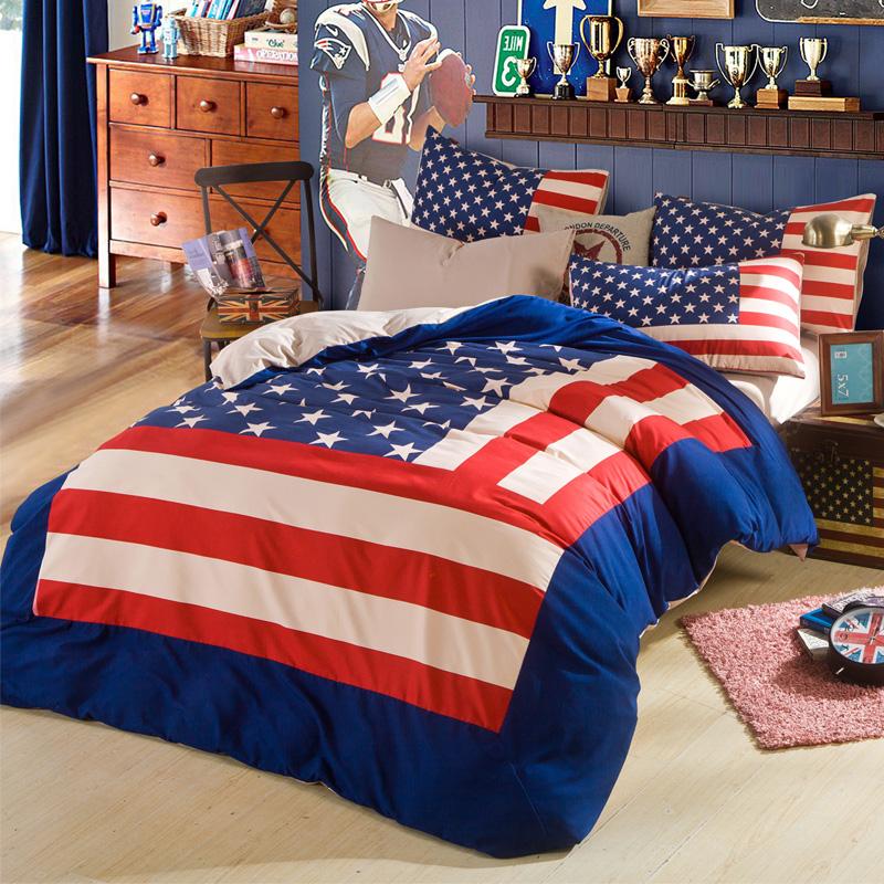 Home Textiles, America flag 4pcs bedding set king size queen size, bed linen, bed set sheet / duvet cover/comforter bedding sets(China (Mainland))
