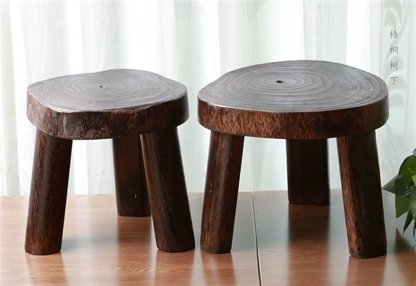 Japanese antique wooden round stool paulownia wood small
