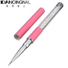 2016 New 1Pcs Nail Art Brush Salon Liner Painting Drawing Pen Rhinestone Diamond Metal Handle Paint Brushes Tools(China (Mainland))