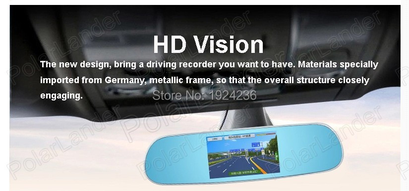 Hot Sale 5.0'' Full HD 1080P   Rearview Mirror Video Recorder Car DVR Dual Night Vision Parking Camera G-Sensor  Rearview Mirror