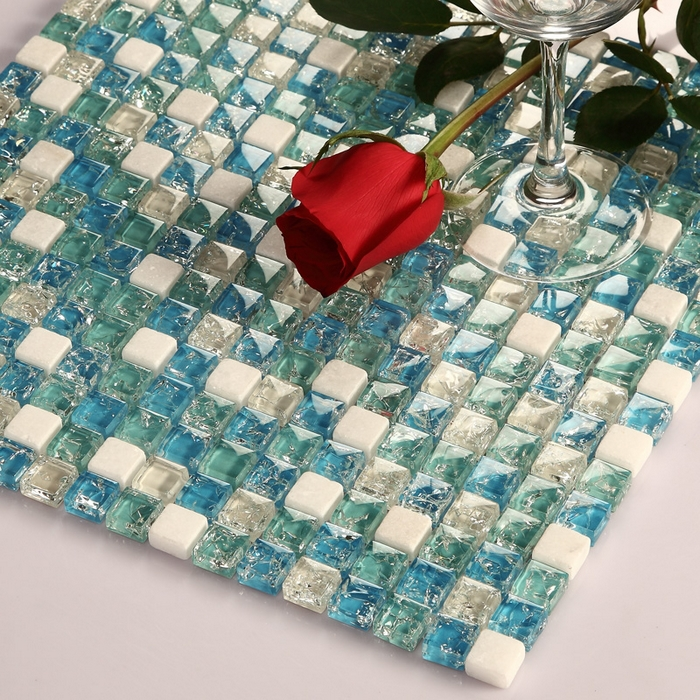 Smal square ice crackle blue glass mixed white stone for Blue crackle glass bathroom accessories