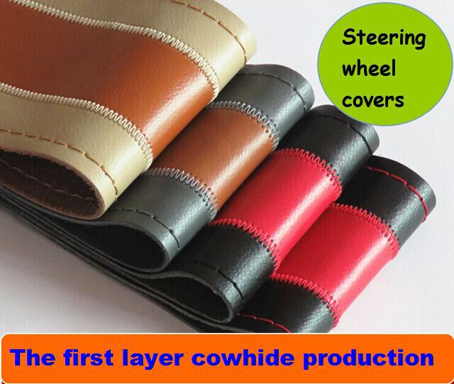 Free shipping 1pcs Black Gray Beige Brown DIY Genuine Leather Cowhide Car Steering Wheel Cover With Needles and Thread Red 2015(China (Mainland))