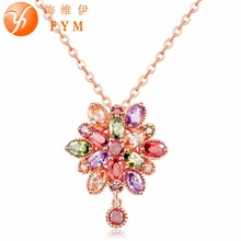 Buy Fashion Women Genuine AAA Cubic Zirconia Stone Wedding Necklace Rose Gold-color Christmas Gifts Jewelry Wholesale Accessories for $2.03 in AliExpress store